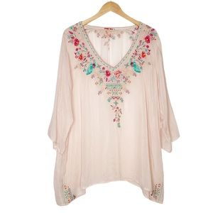 JOHNNY WAS | Embroidered Floral Short Sleeve